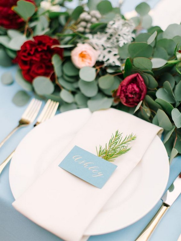 dusty blue and burgundy wedding table setting ideas
