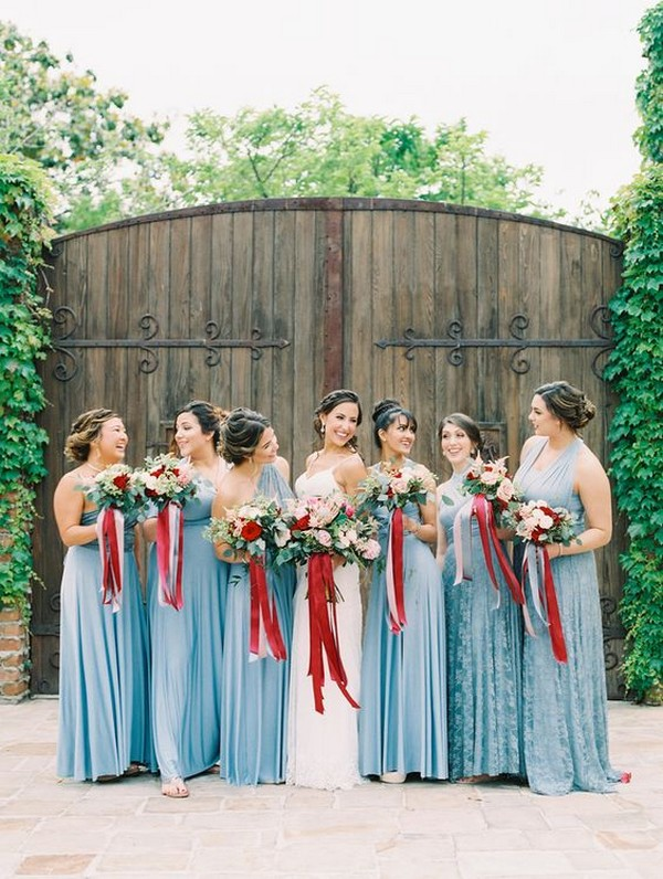 dusty blue bridesmaid dresses with burgundy bouquets