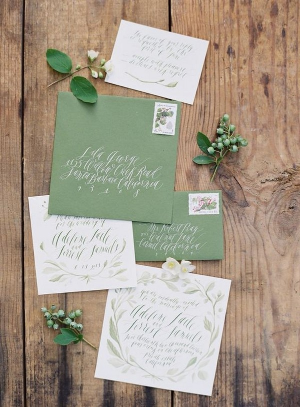 earthy green wedding invitation ideas