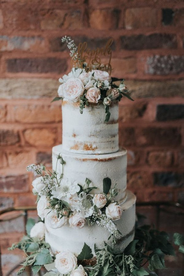 elegant blush and sage green semi naked wedding cake