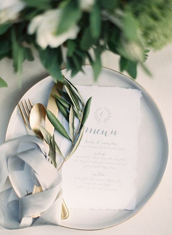 elegant gray and sage green wedding table settings