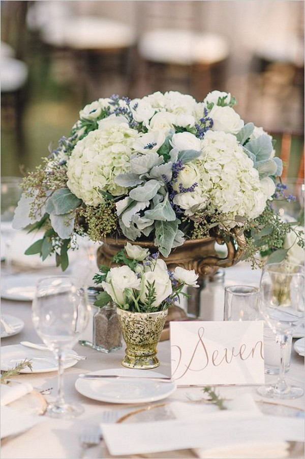 elegant hydrangea greenery wedding centerpiece ideas