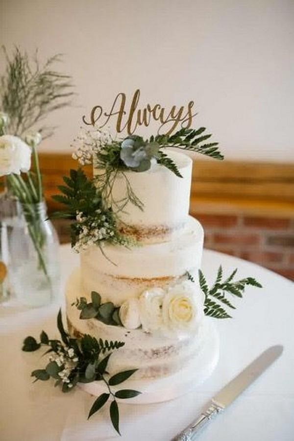 greenery semi naked wedding cake ideas