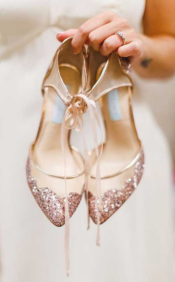 neutral and rose gold wedding shoes