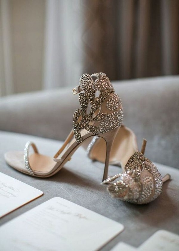 neutral beaded wedding heels