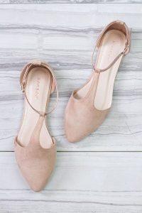 neutral color flat wedding shoes