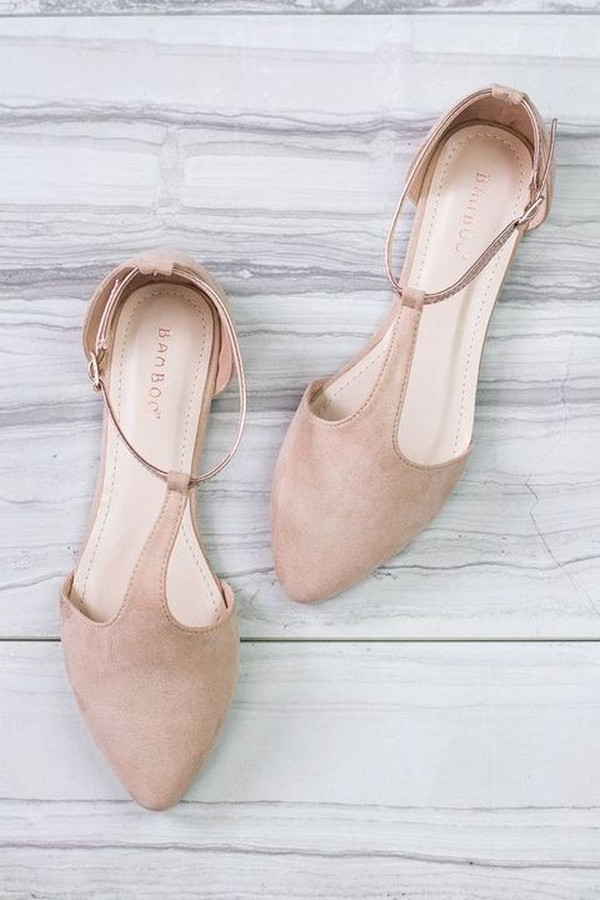 neutral color flat wedding shoes