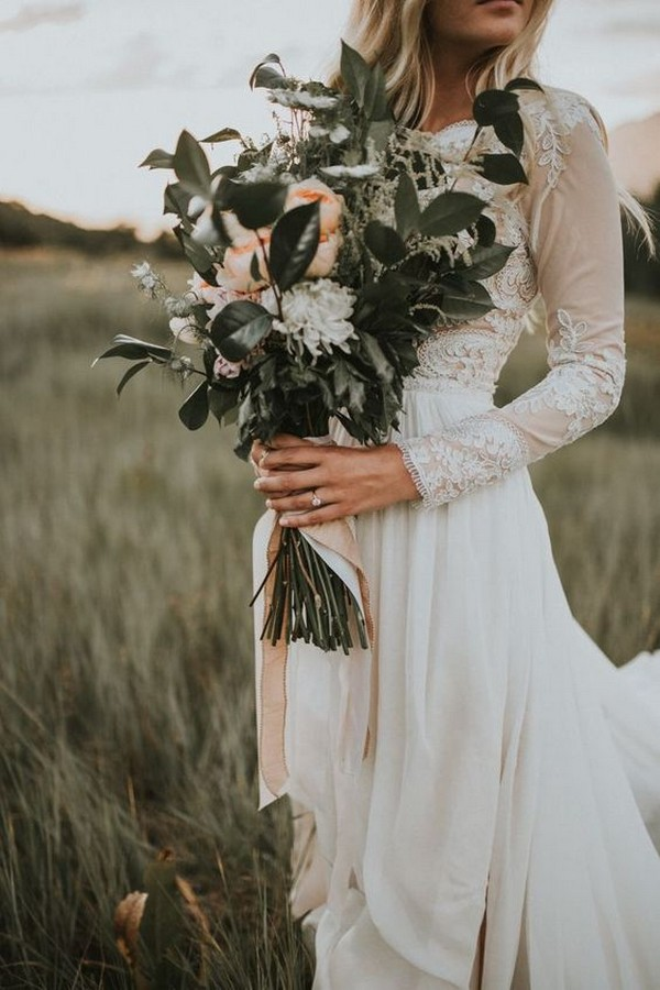 peach and sage green wedding bouquet