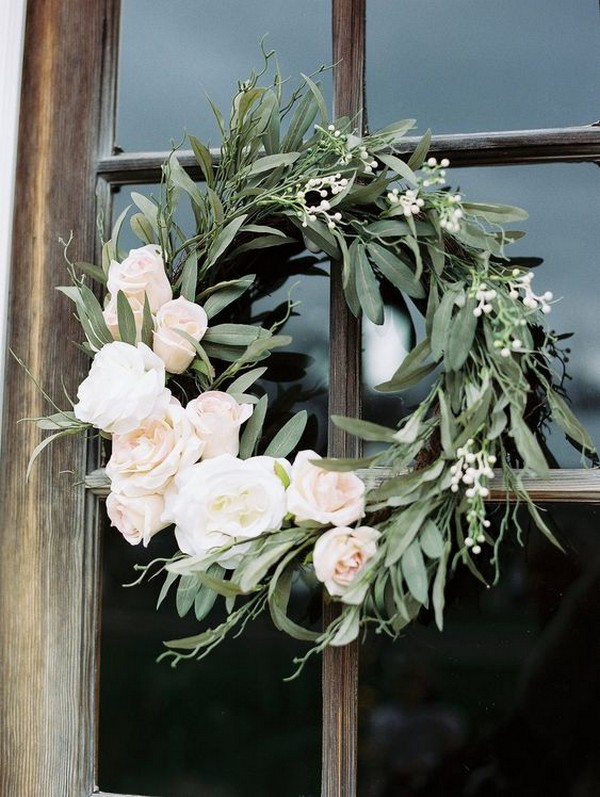 sage green and blush wedding wreaths decoration ideas