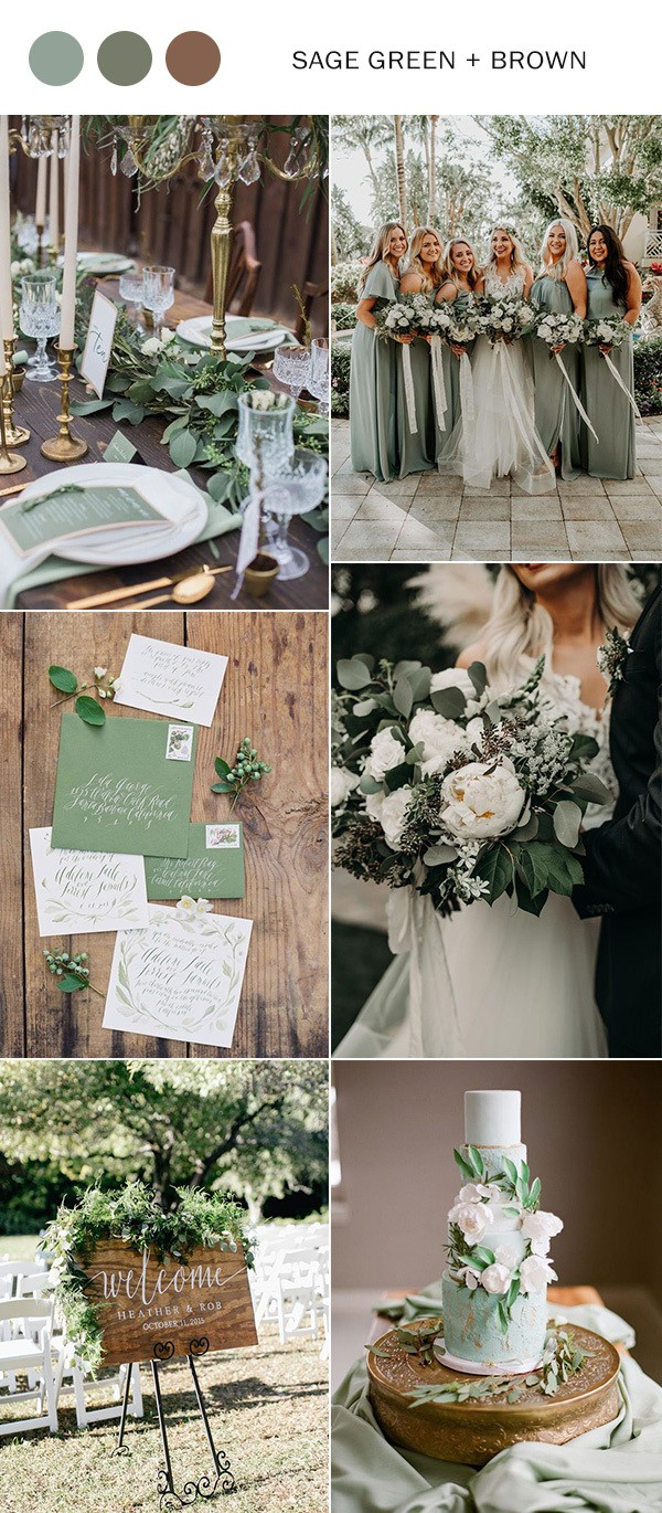sage green and brown neutral wedding color ideas