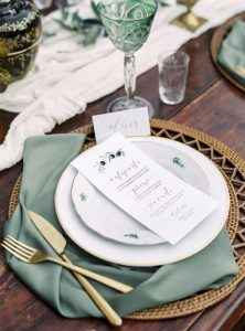 sage green and gold wedding table setting ideas