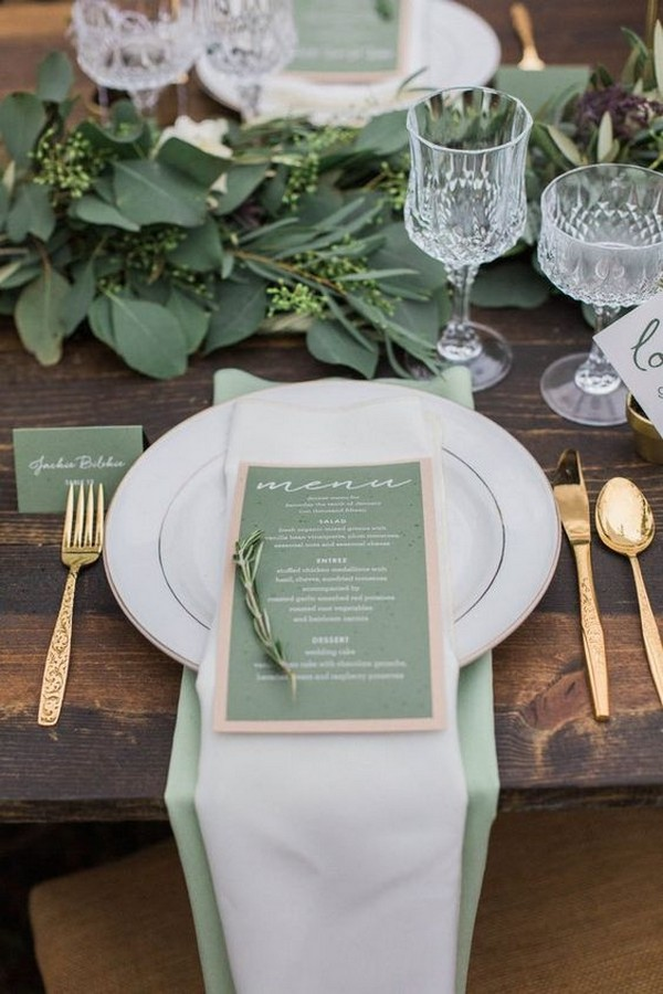 sage green and gold wedding table settings