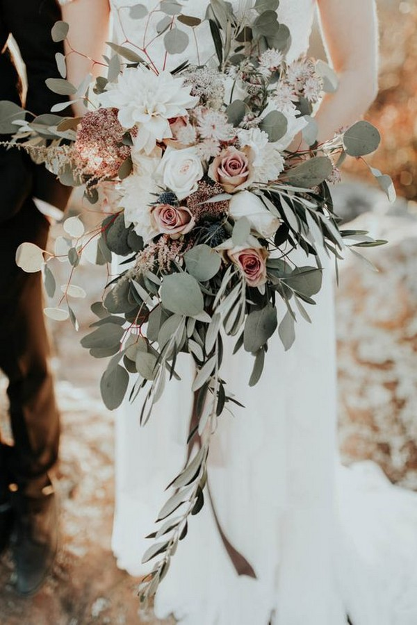 sage green blush and ivory boho wedding bouquets