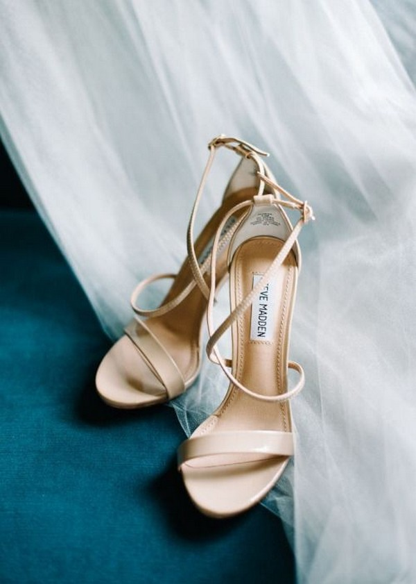 strappy neutral wedding shoes ideas