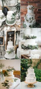 trending elegant wedding cakes with sage green color