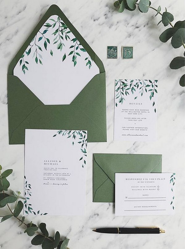 trending greenery wedding invitation set