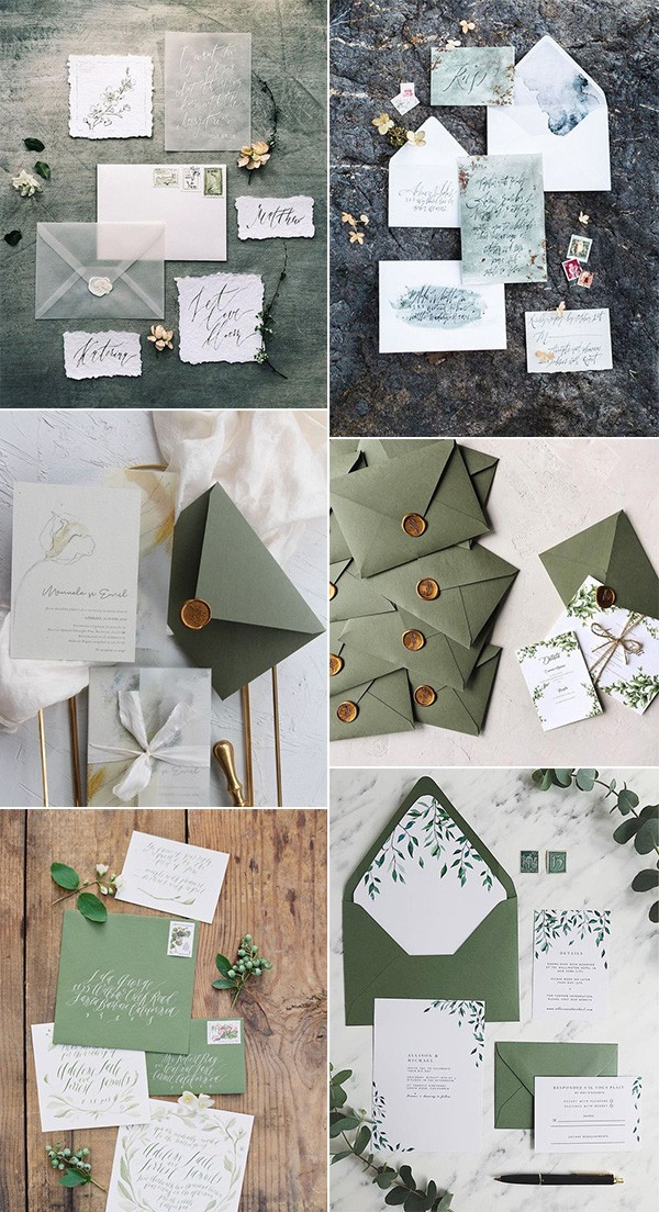 trending greenery wedding invitations