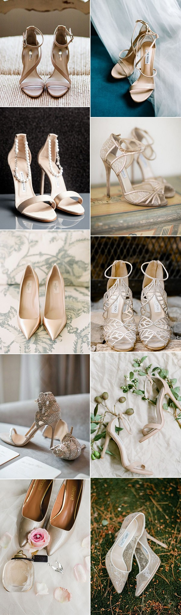 trending neutral elegant wedding shoes