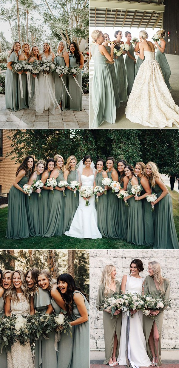 trending sage green bridesmaid dress ideas for 2018 and 2019