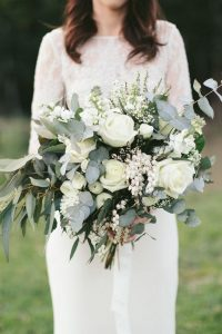 white and greenery stunning wedding bouquet