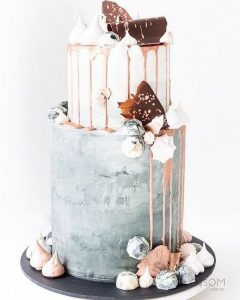 Chic Concrete Wedding Cake with pink drip