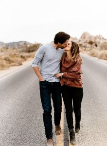 Playful Engagement Photos in Joshua Tree