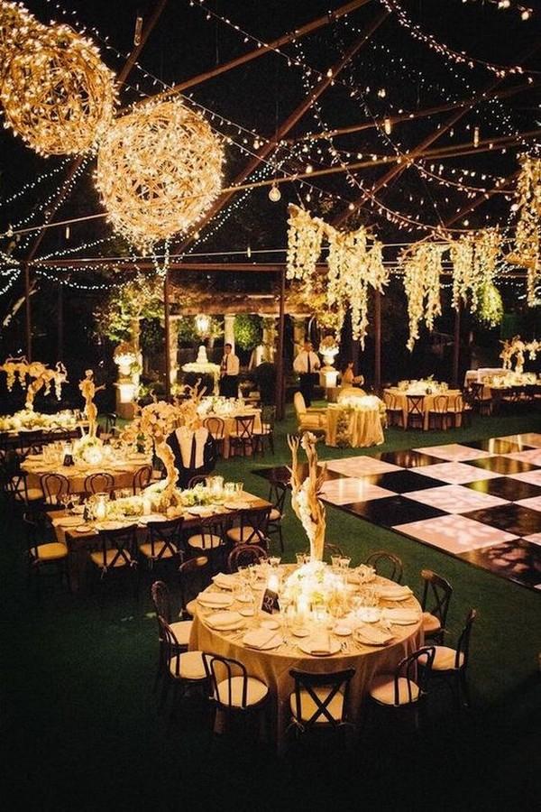 backyard night wedding reception with stunning lights