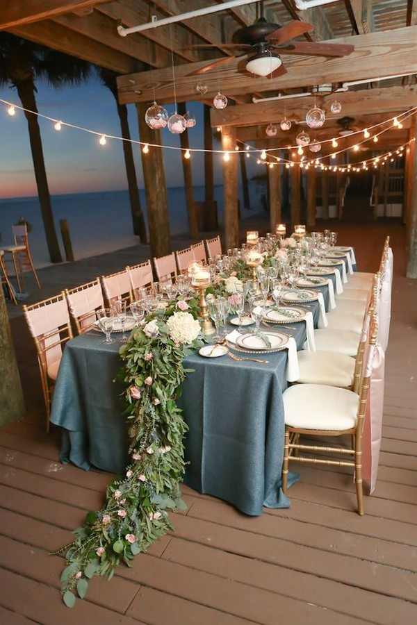 beach wedding reception decoration ideas with string lights