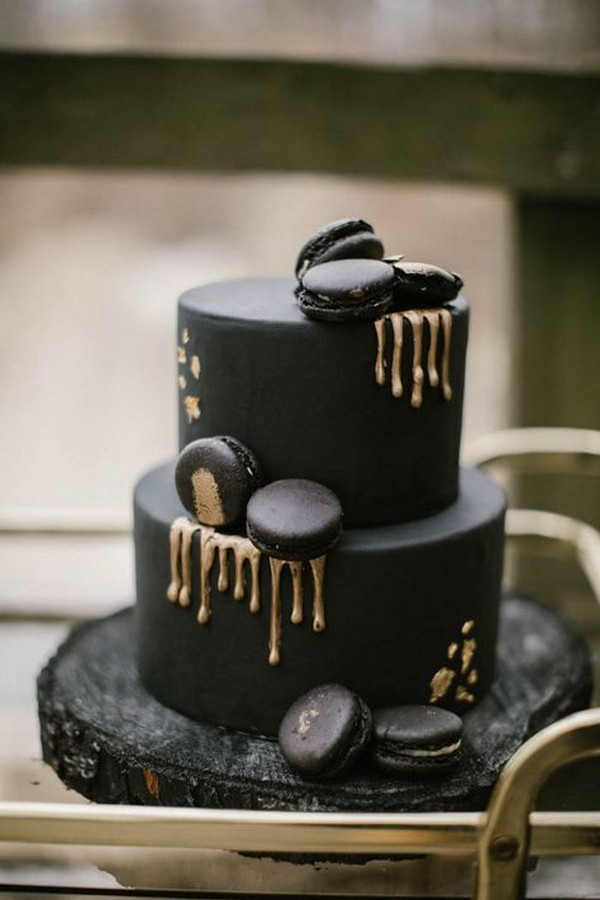 black wedding cake with metallic gold drips
