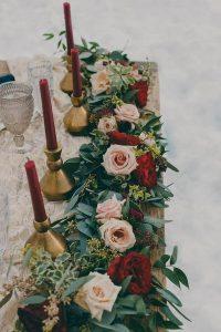 blush and burgundy winter wedding centerpiece ideas