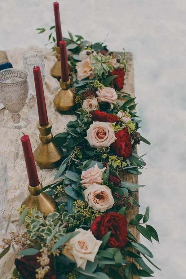 blush and burgundy winter wedding centerpiece ideas