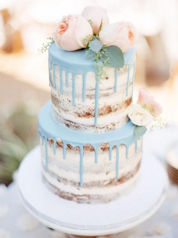 74984109b51 blush pink and blue semi naked drip wedding cake