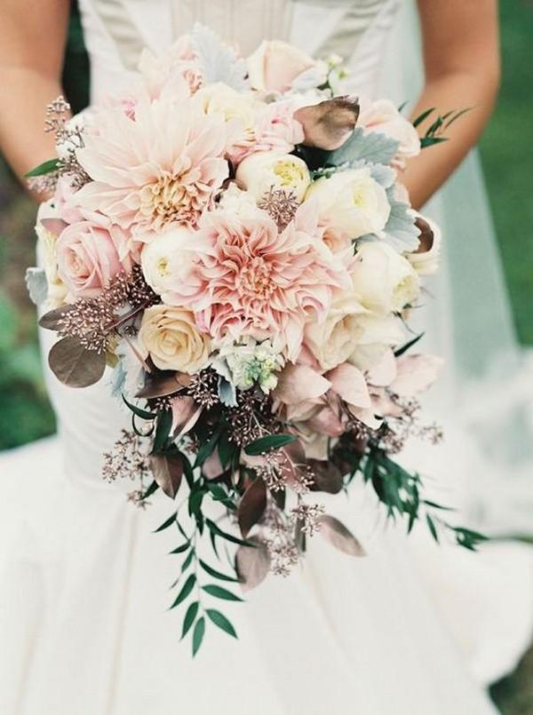 blush pink dahlia wedding bouquet