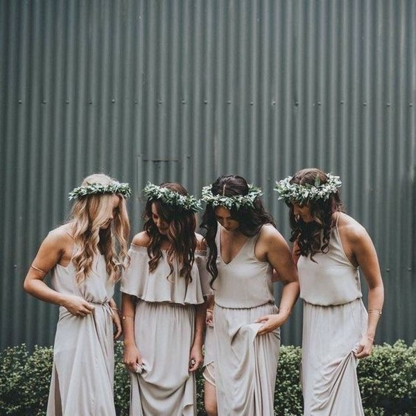 boho chic neutral bridesmaid dresses