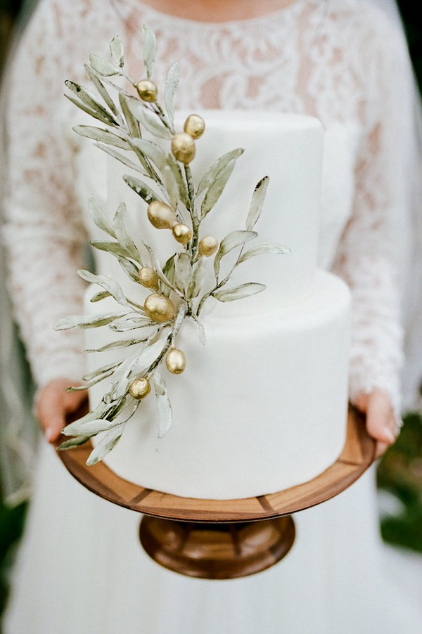 boho chic neutral wedding cake