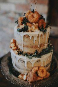 boho donuts and white chocolate drip wedding cake