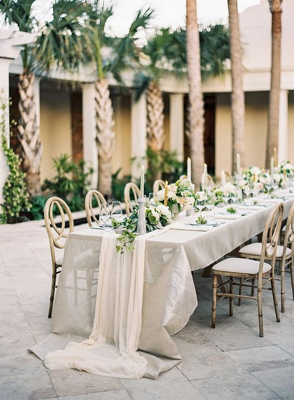 botanical neutral wedding table setting ideas