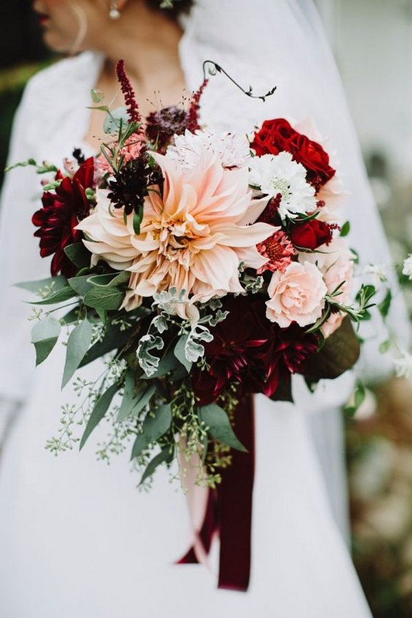 burgundy and blush dahlia wedding bouquet