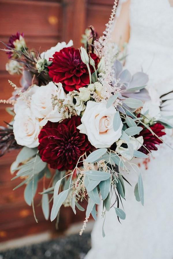burgundy blush dahlia wedding bouquet