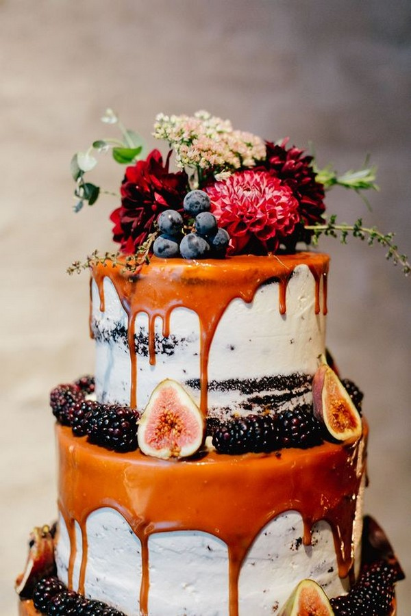 cameral drip wedding cake with floral and fruits