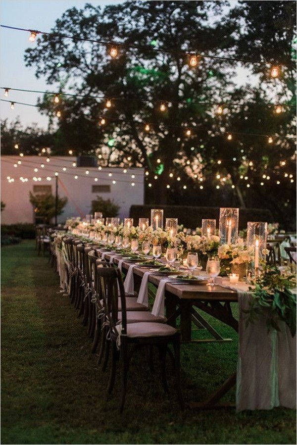 chic backyard wedding reception ideas with lights