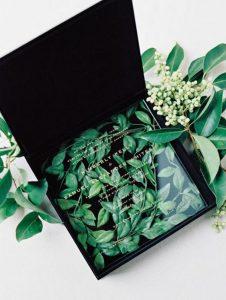 chic black and greenery acrylic wedding invitation