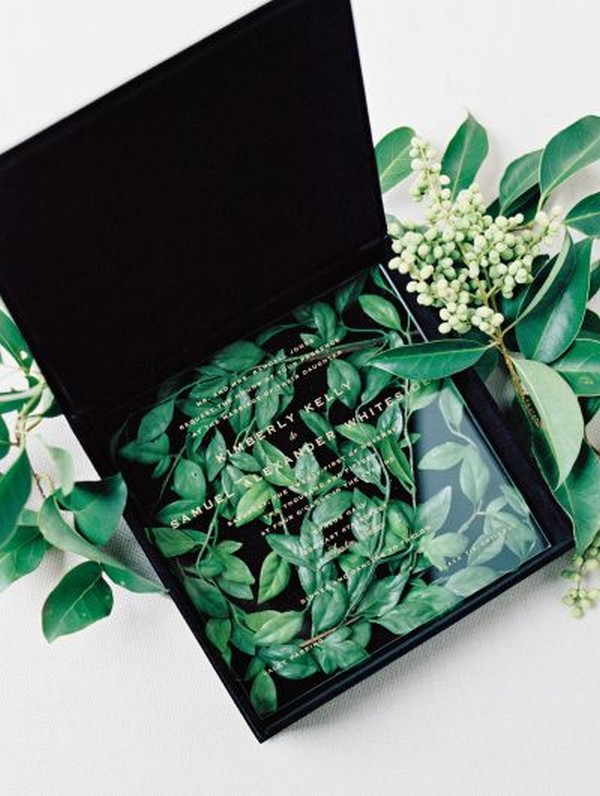 chic black and greenery acrylic wedding invitation