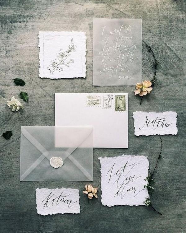 chic cotton rag paper wedding invitation with vellum envelope