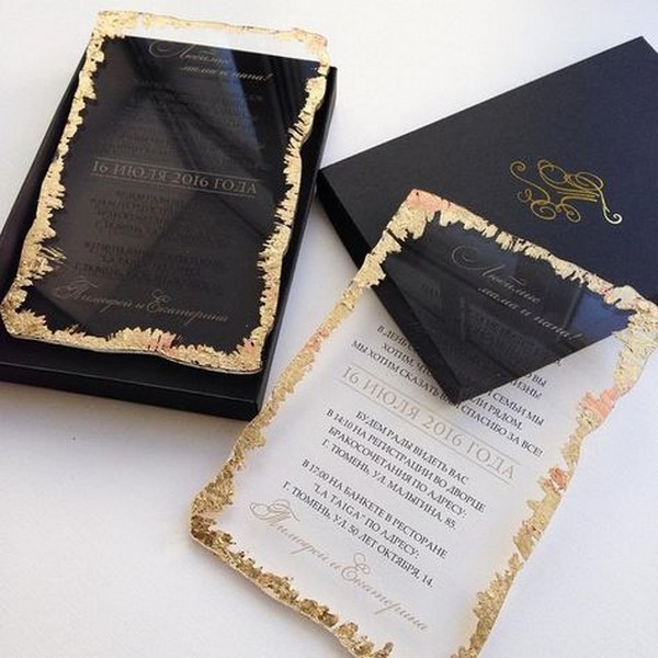 chic gold and black acrylic wedding invitation