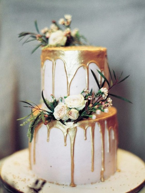 chic metallic gold drip wedding cake