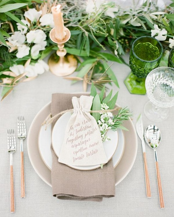 chic neutral wedding table setting ideas
