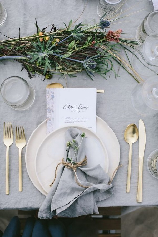 chic neutral wedding table settings ideas