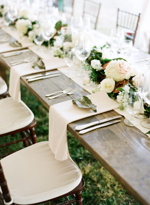chic neutral wedding table settings