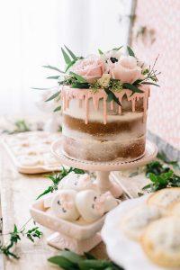 chic pink drip wedding cake